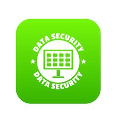 Pc data security icon green vector