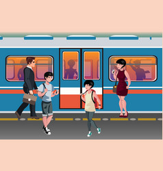people in subway train public transport vector image