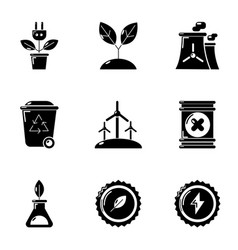 Pure breath icons set simple style vector