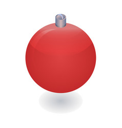 red xmas ball tree icon isometric style vector image