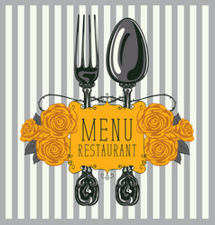 restaurant menu with fork spoon and yellow roses vector image