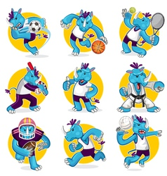 Rhino Sports Mascot Collection Set vector image