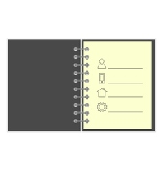 Ring-bound notebook with personal information vector image