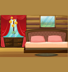 Room with wooden bed and red curtain vector