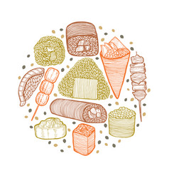 Round colored composition with japanese food in vector