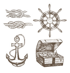 sailor equipment set hand draw sketch vector image