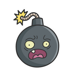 scared cartoon bomb with burning wick vector image