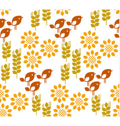 Seamless pattern with sunflower floral vector