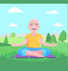 senior man meditates vector image