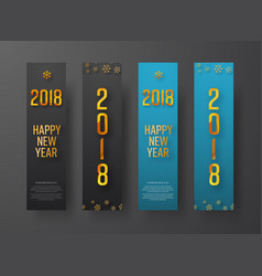 set blue and black vertical web banners happy vector image