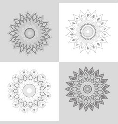 set flowers mandalar ornament decoration vector image