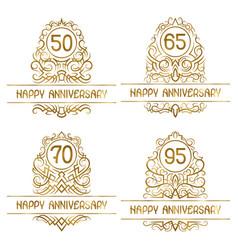 Set golden anniversary vintage emblems for vector