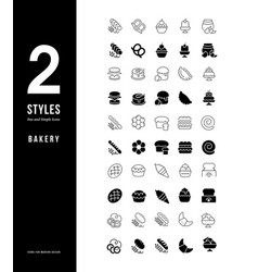 simple line icons bakery vector image