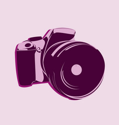 Slr camera logo in pink tones on a light vector