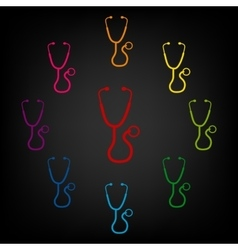 Stethoscope icon set vector