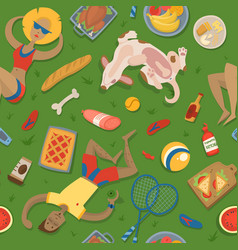 summer picnic party in park on meadow vector image