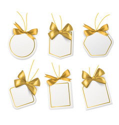 tags with gold bows blank white price vector image