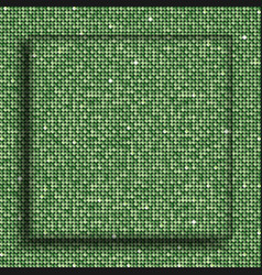 the square glass banner green sequins background vector image