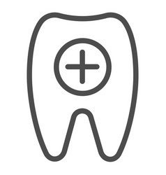 tooth and plus line icon healthy tooth vector image