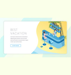 tourist business landing page template vector image