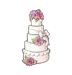 Traditional white tiered wedding cake decorated vector