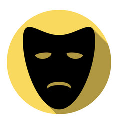 tragedy theatrical masks flat black icon vector image