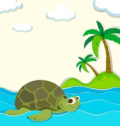 Turtle swimming in the ocean vector image