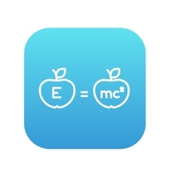 Two apples with formulae line icon vector image