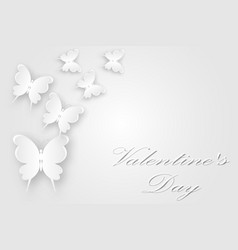 white butterflies fly postcard with valentines day vector image