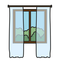 window house and courtain with day outside view vector image