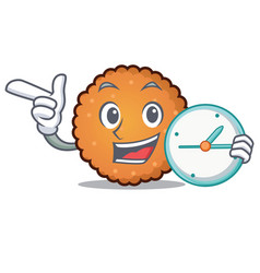 with clock cookies character cartoon style vector image