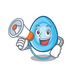 With megaphone oxygen mask character cartoon vector