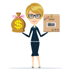 woman holding a box and money delivery concept vector image