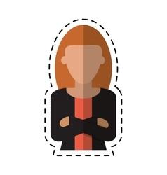 Woman leader job business cross arms cutting line vector