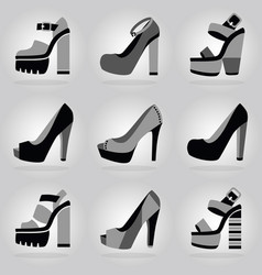 Women trendy platform high heel shoes icons set vector