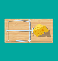 Wooden mouse trap with cheese vector