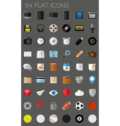 54 flat icons and pictograms set vector image vector image