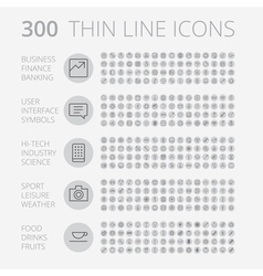 Icons line set round thin vector