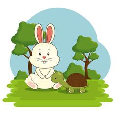 cute adorable bunny turtle animal cartoon vector image