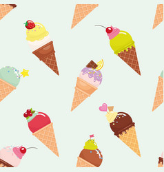 ice cream cone seamless pattern background vector image vector image
