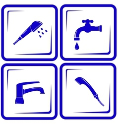 set water supply faucet mixer tap valve icon vector image vector image