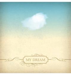 Vintage sky old paper background with cloud frame vector image vector image