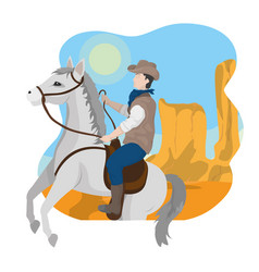 cowboy on horse in desert vector image