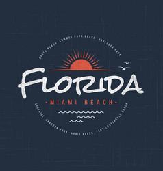 florida miami beach t-shirt and apparel design vector image