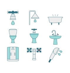 line style icons of sanitary elements vector image