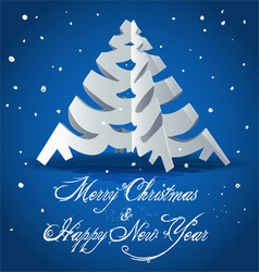 New Year card with Christmas tree vector image
