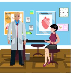 the woman at the doctor office vector image vector image