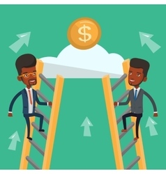 Two businessman competing for the money vector image vector image