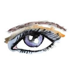 Watercolor hand drawn eye Make up vector image vector image