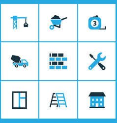 Building colorful icons set collection of vector